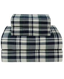 Winter Nights Cotton Flannel Print Cal King Sheet Set