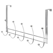 Home Basics Chrome Plated Steel Over the Door 5 hook Hanging Rack