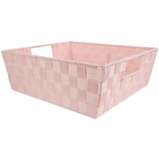 Home Basics Large Polyester Woven Strap Open Bin