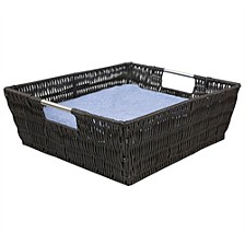 Home Basics Intricate Decorative Weave Plastic Basket