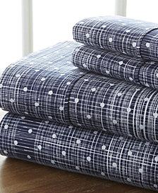 Home Collection Premium Ultra Soft Polka Dot Pattern 4 Piece Bed Sheet Set, Queen