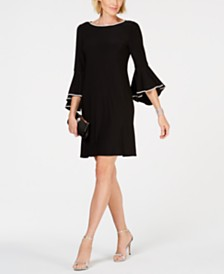 MSK Petite Embellished-Trim Bell-Sleeve Dress