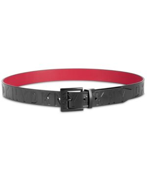 Patent Logo Reversible Belt, Created For Macy'S in Black/Red