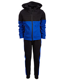 Ideology Little Boys Ottoman Colorblocked Zip-Up Hoodie & Jogger Pants, Created for Macy's