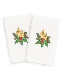 Linum Home Christmas Candles 100% Turkish Cotton 2-Pc. Hand Towel Set