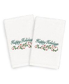 Linum Home Christmas Happy Holidays 100% Turkish Cotton 2-Pc. Hand Towel Set