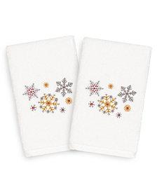 Linum Home Christmas Snowfall 100% Turkish Cotton 2-Pc. Hand Towel Set