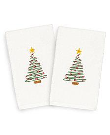 Linum Home Christmas Tree 100% Turkish Cotton 2-Pc. Hand Towel Set