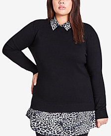 City Chic Plus Size Layered-Look Sweater