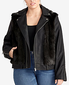 RACHEL Rachel Roy Trendy Plus Size Milana Faux-Fur Moto Jacket