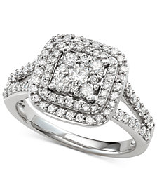 Diamond Halo Cluster Engagement Ring (1 ct. t.w.) in 14k White Gold