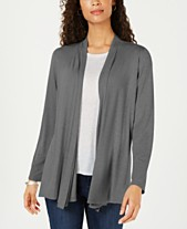 Karen Scott Draped Open-Front Cardigan d48403491