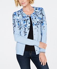 Karen Scott Cotton Floral-Print Cardigan, Created for Macy's