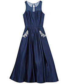 Rare Editions Big Girls Embellished Illusion-Neck Satin Gown