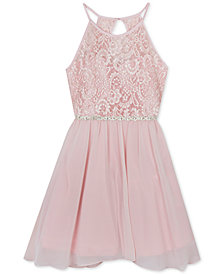 Rare Editions Big Girls Plus Glitter-Lace Chiffon Dress