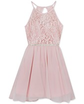 fac0d71896bfba Rare Editions Big Girls Plus-Size Glitter-Lace Chiffon Dress