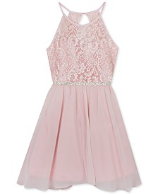 Rare Editions Big Girls Plus-Size Glitter-Lace Chiffon Dress