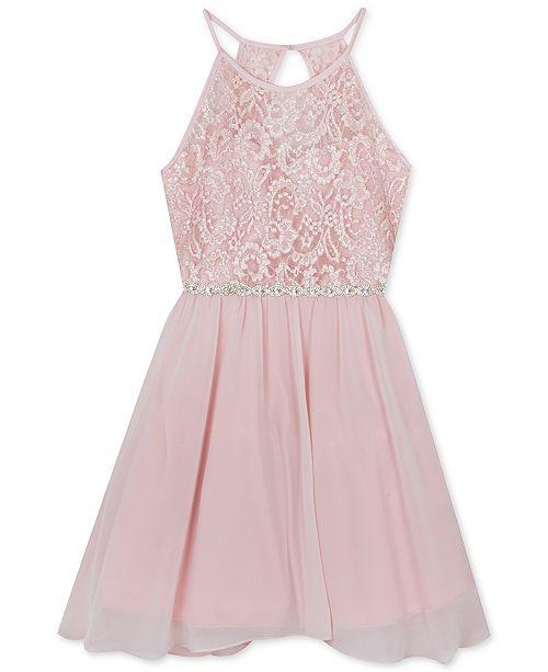 Big Girls Plus-Size Glitter-Lace Chiffon Dress