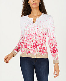 Karen Scott Allover Floral-Print Cardigan Sweater, Created for Macy's