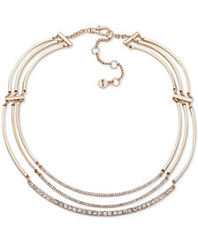 "DKNY Gold-Tone Crystal Curved Bar Triple-Row Collar Necklace, 16"" + 3"" extender"