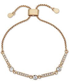 DKNY Gold-Tone Crystal Bar Slider Bracelet