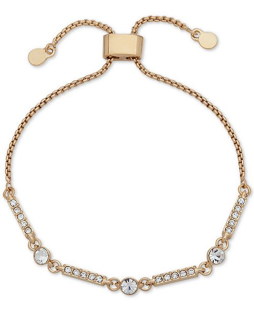 DKNY Gold-Tone Crystal Bar Slider Bracelet, Created for Macy's