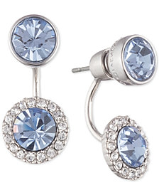 Givenchy Silver-Tone Crystal & Stone Front-and-Back Earrings