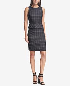 DKNY Printed Peplum Sheath Dress, Created for Macy's