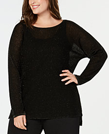 Eileen Fisher Plus Size Organic Linen Metallic Sweater