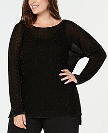 Eileen Fisher Plus Size Organic Linen Metallic Sweater