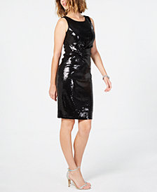 Taylor Allover-Sequin Knot-Side Dress