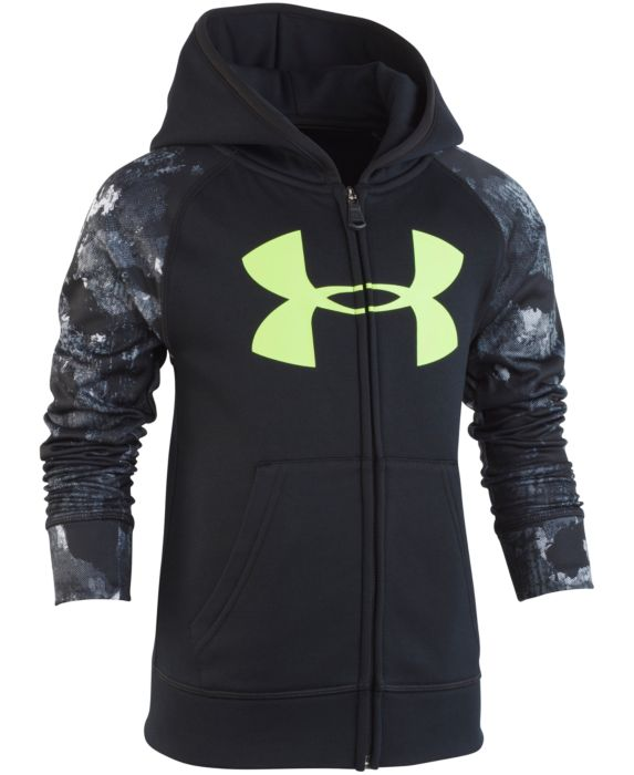 Under Armour Little Boys Bedrock Camo Zip-Up Hoodie, Black, Size: 7
