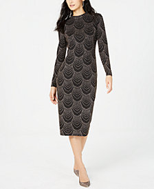 Nine West Embellished Mock-Neck Midi Dress
