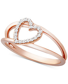 Wrapped™ Diamond Heart Ring (1/10 ct. t.w.) in 14k Rose Gold, Created for Macy's