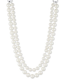 "Lauren Ralph Lauren Silver-Tone Imitation Pearl Double-Row X"" Collar Necklace"