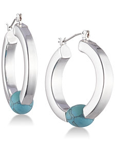 Lauren Ralph Lauren Silver-Tone Stone Bead Hoop Earrings