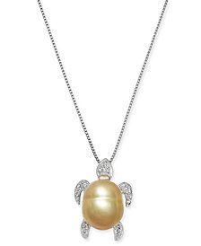 "Baroque Cultured Golden South Sea Pearl (10mm) & Diamond Accent Turtle 18"" Pendant Necklace in Sterling Silver"