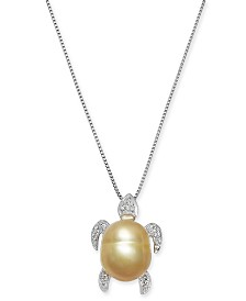 """Baroque Cultured Golden South Sea Pearl (10mm) & Diamond Accent Turtle 18"""" Pendant Necklace in Sterling Silver"""