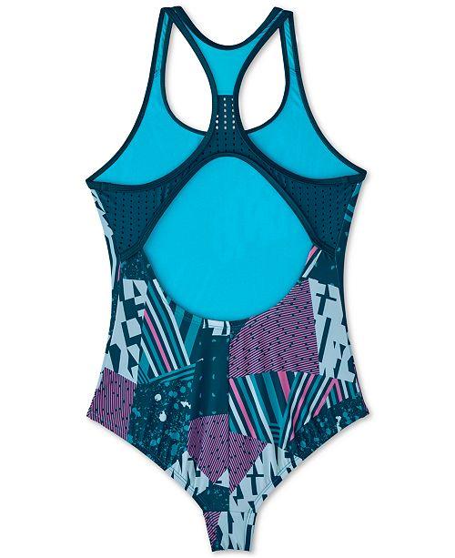 f357eebc5c3 Big Girls 1-Pc. Mixed-Print Mash-Up Racerback Swimsuit