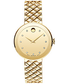 Movado Women's Swiss Sapphire Diamond-Accent Gold-Tone PVD Stainless Steel Quilted Bracelet Watch 30mm