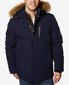 Nautica Men's Logo Parka with Faux-Fur Trim