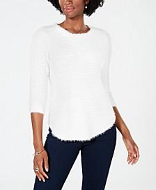 Petite Popcorn-Texture Eyelash Sweater
