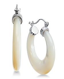Mother-of-Pearl Hoop Earrings in Sterling Silver