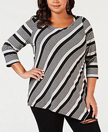NY Collection Plus Size Striped Asymmetrical Top