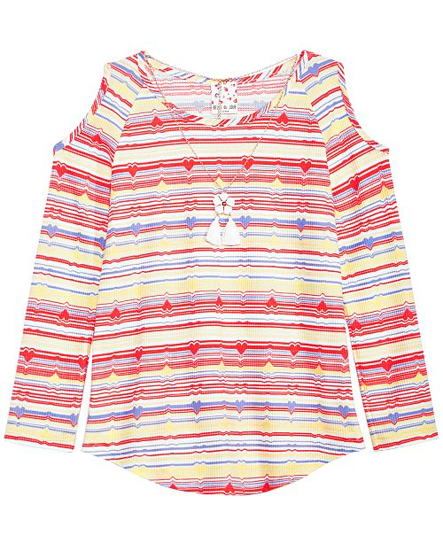 Big Girls Striped Top & Necklace