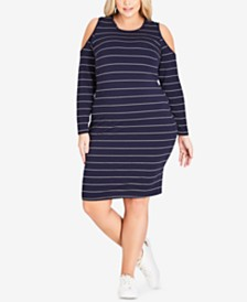 City Chic Trendy Plus Size Striped Cold-Shoulder Dress