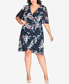 City Chic Trendy Plus Size Twisted Faux-Wrap Dress