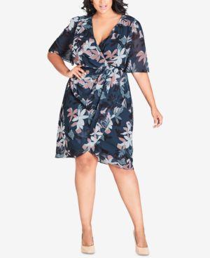 CITY CHIC Trendy Plus Size Twisted Faux-Wrap Dress in Luna Floral