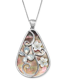 "Black & White Mother-of-Pearl Floral Teardrop 24"" Pendant Necklace in Sterling Silver"