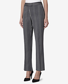 Tahari ASL Petite Extended-Tab Striped Straight-Leg Pants
